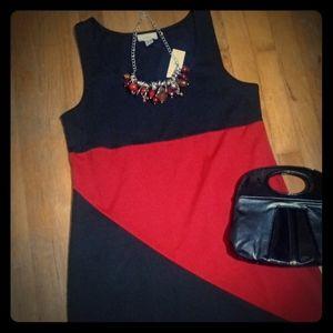 LOFT NWT ❤COLOR BLOCK SLEEVELESS DRESS